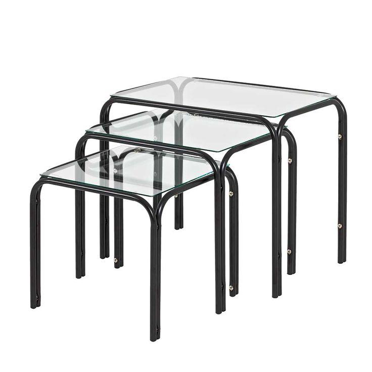 Beistelltisch Set In Schwarz Stahl Glas 3 Teilig Jetzt Bestellen Unter Moebelladendirektde Wohnzimmer Tische Satztische Uid9b084d73 B67b 5661