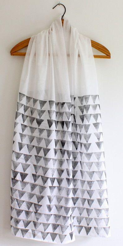 Grey n white, block printed