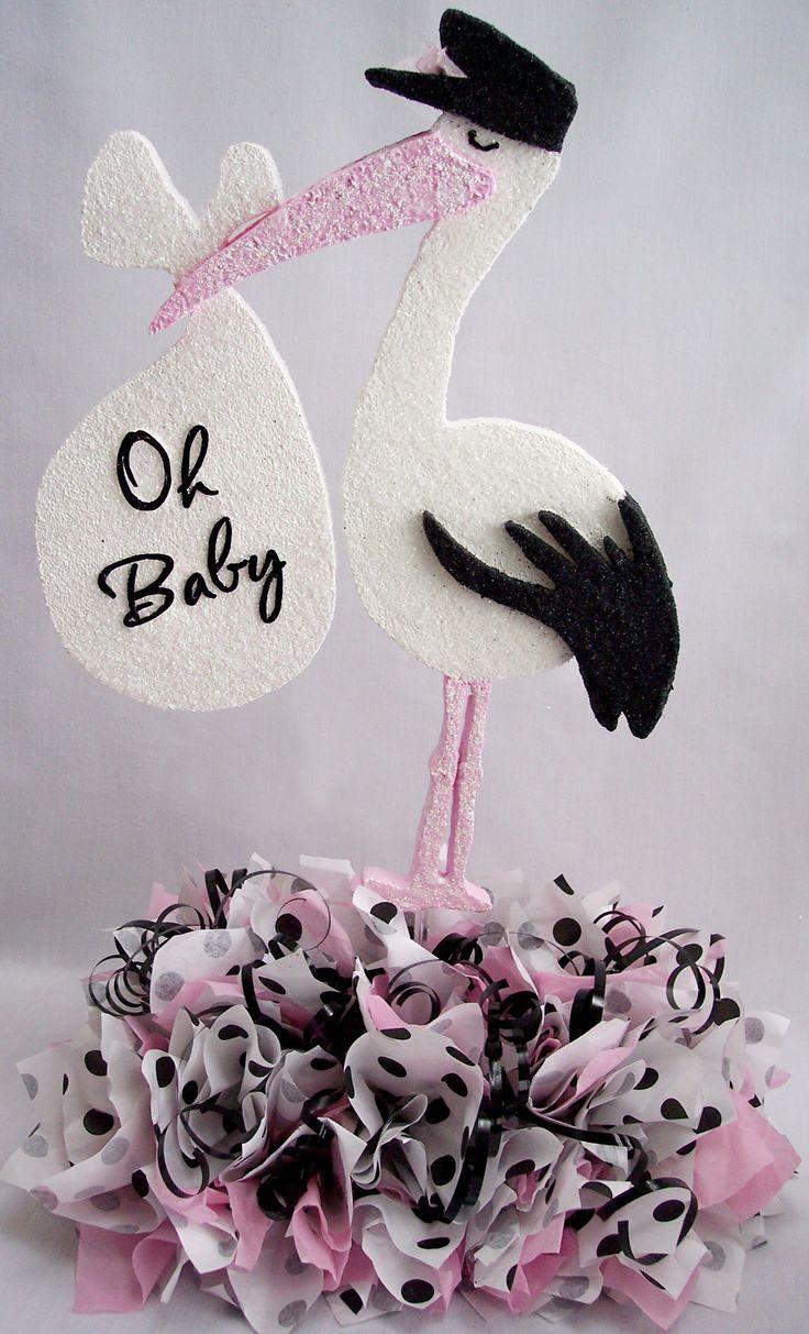 stork baby shower decorations | Stork baby centerpiece