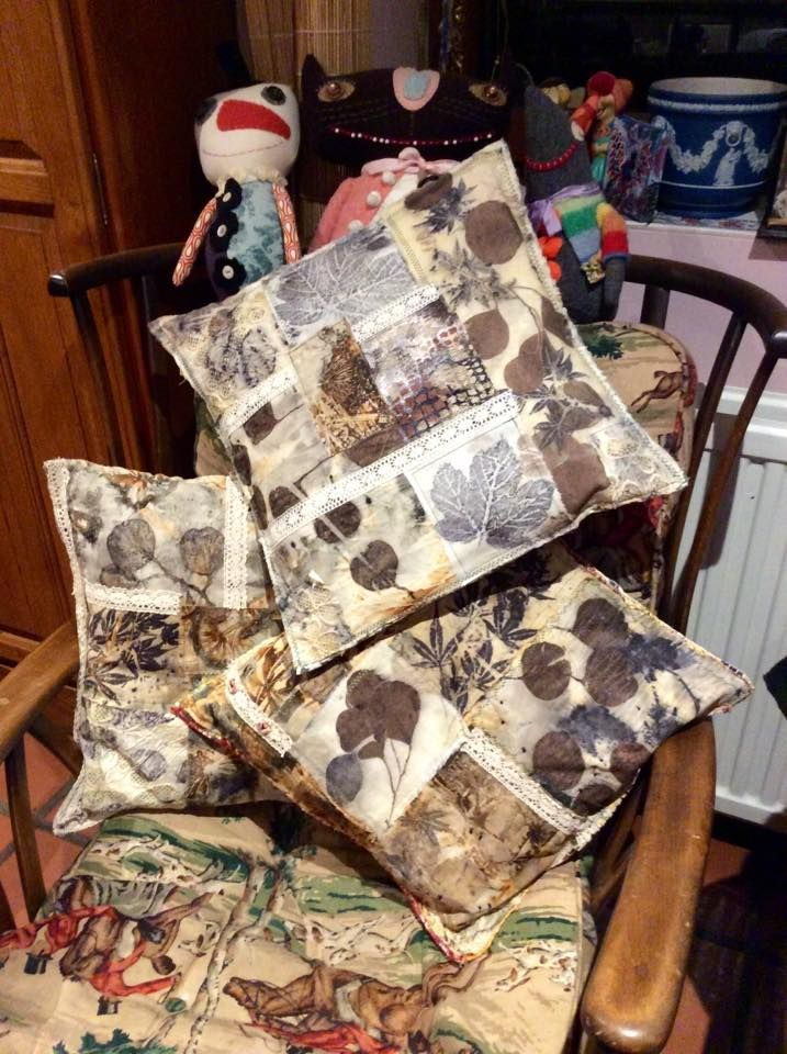 Natural dying and printing with leaves...Cushions made from eco prints