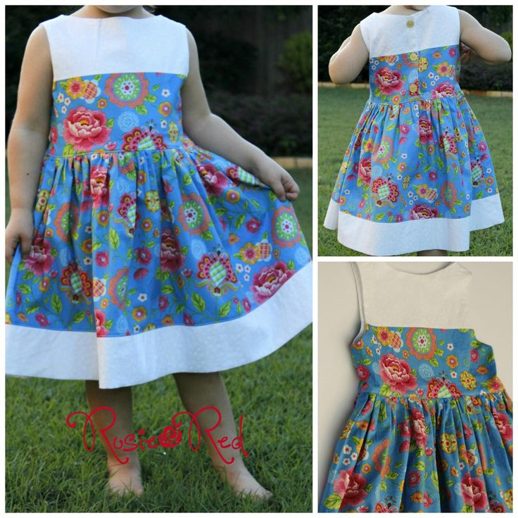 $35.00 SIZE 4 Blue Floral Audrey Dress by RosieRed on Handmade Australia