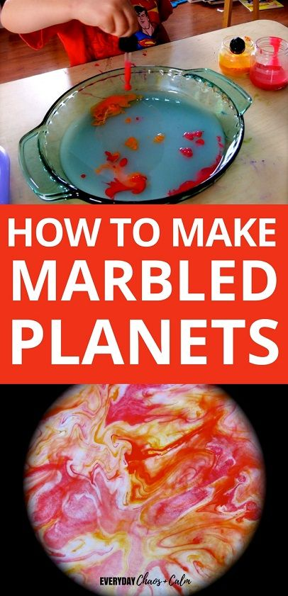DIY Craft: Space Crafts and Activities: Make beautiful swirled planets to help teach your children about space and learn the planets by name with this marbled planet craft!