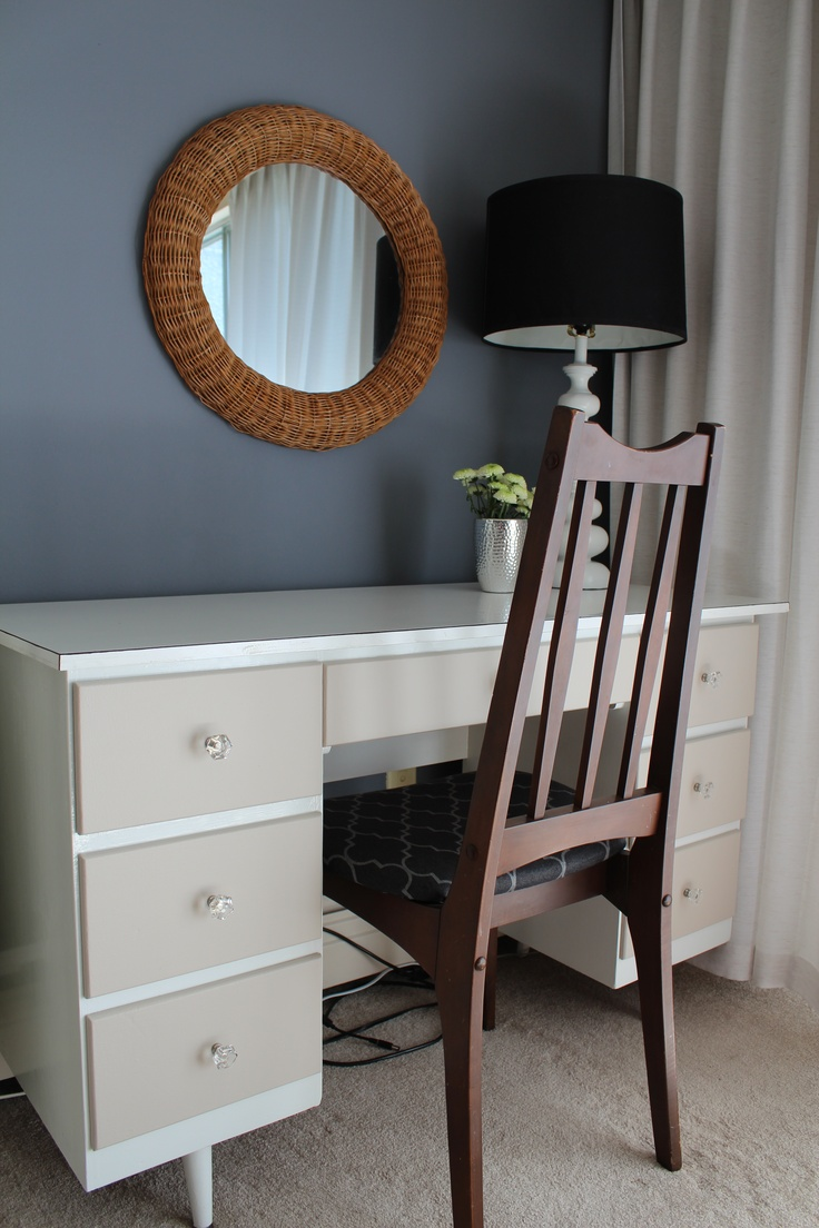Benjamin Moore's CSP-65 Old Soul on desk drawers | Painted Love Blog