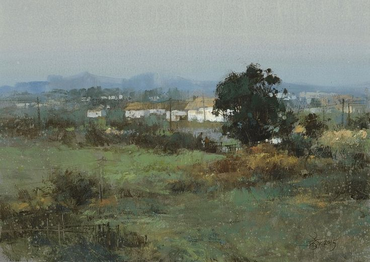 【Countryside】watercolor+white,18*26cm,Demo by Chien Chung Wei