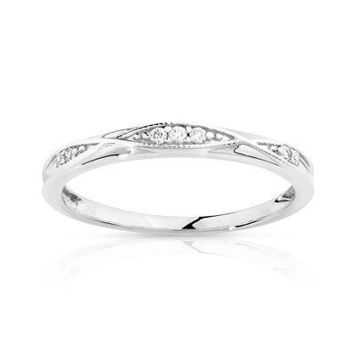 Bague or 375 blanc diamant maty