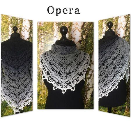 Beschreibung: Opera ist ein etwas verspieltes Dreieckstuch mit vielen Luftmaschenbögen und Picots. Das Tuch kann beliebig gross gehäkelt werden. Die Anleitung ist schriftlich und beinhaltet eine Häkelschrift. Folgende Maschen kommen vor : Luftmaschen,