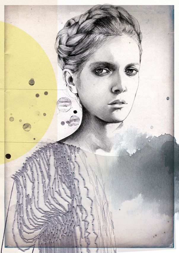 Montse Bernal -  Untitled #3 - (Week 1 - Eduardo) - Barcelona - 2012. Graphite, Colour Pencils, collage, embroidery. The graphite shows a great use of tonal sketching. The use of white is effective in defining different elements. Also great joining of different mediums.