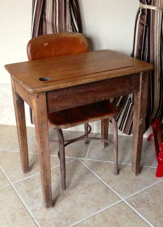 Vintage Wooden School Desk And Chair School Desks