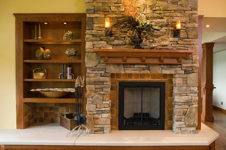 Frank Lloyd Wright Inspired Residence Rustic Fireplace Amp Built In Shelving Rustic Fireplace