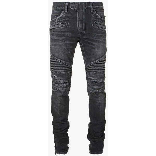 Balmain Regular-fit vintage cotton biker jeans ($1,190) ❤ liked on Polyvore featuring men's fashion, men's clothing and men's jeans - online mens clothing, mens clothing buy online, shop mens clothing cheap