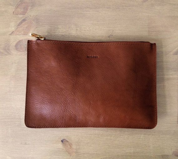 Chestnut Small Brown Small Clutch Leather purse ipad by MISOUI, zł150.00