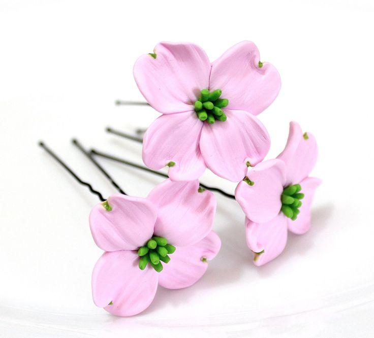 Розовые цветы Кизила заколки для волос, Свадебные волосы Цветы, заколки для волос, цветы by NikushJewelryArt on Etsy