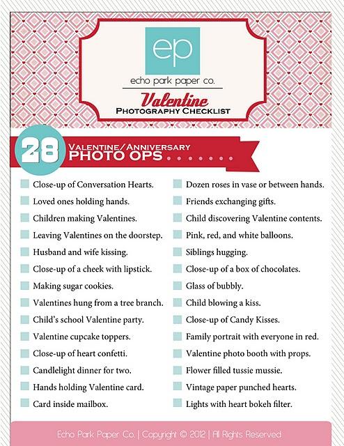 Valentine photo checklist