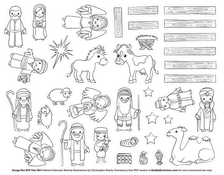 376 best nativity printables images on pinterest xmas for Printable advent coloring pages
