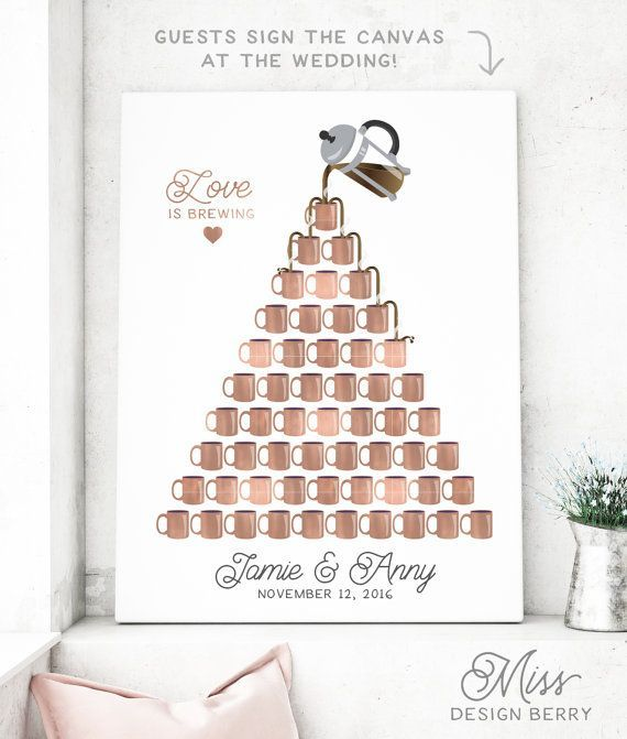 Coffee Wedding Canvas Guest Book Alternative by MissDesignBerryInc