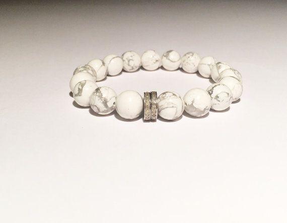 White howlite, DIAMOND bracelet, Diamond, howlite bracelet, White bracelet with diamond, FREE SHIPPING