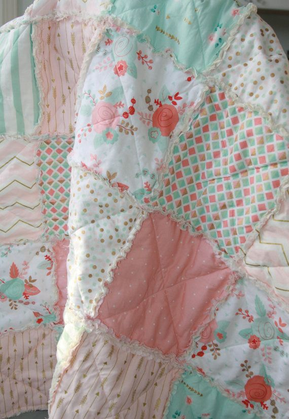 Made to order   Pretty rag quilt made with a variety modern floral and geometric prints in gold, mint and peach. This quilt is so pretty, the colors