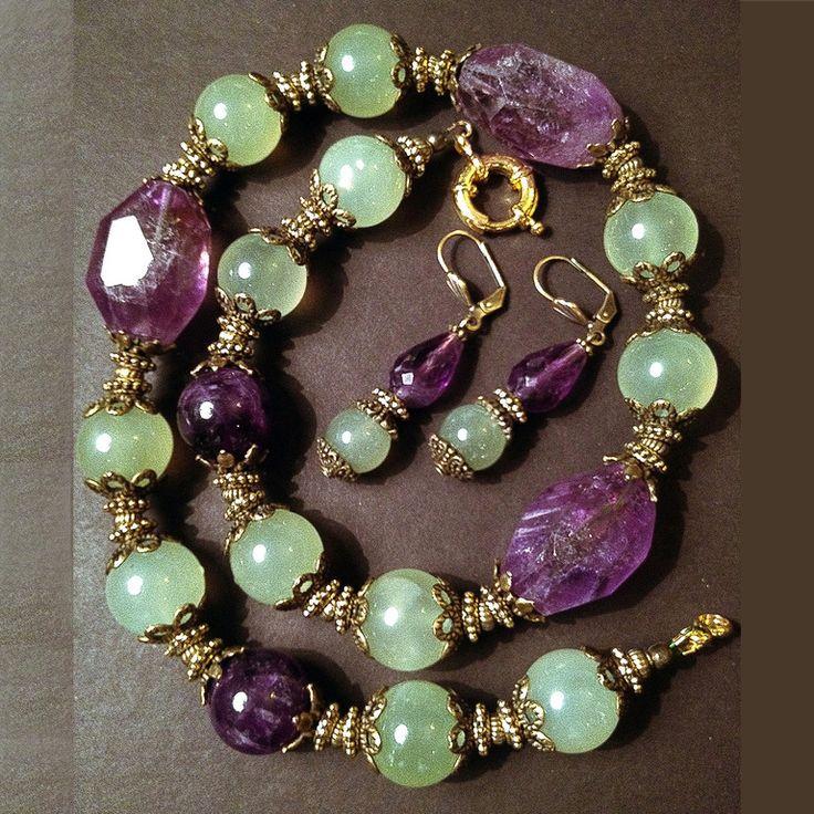Купить Бусы из натуральных камней( аметистов и нефрита) - аметист натуральный, нефрит натуральный, бусы из камней