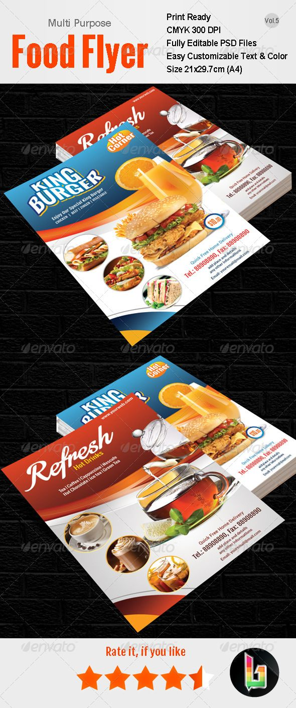 Best Food Flyer Images On   Edit Font Flyer Design
