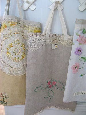 bags made with vintage linens. Tea For Joy - Dottie Angel