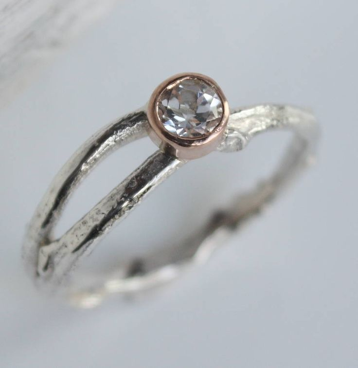 silver and rose gold woodland twig ring by caroline brook | notonthehighstreet.com