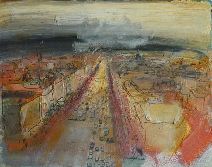 View down the Champs Elysees pre financial crisis 2008   Oil on Panel 2013