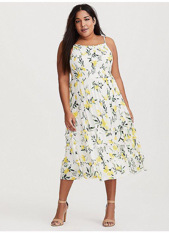 Torrid White Lemon Smocked Midi Dress Floral Chiffon Dress Midi Dress Dresses