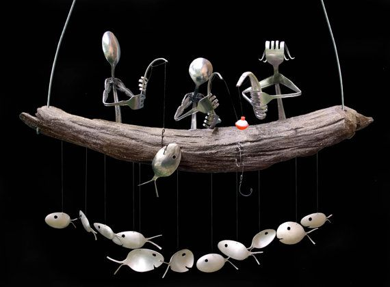 Family Fishing Trip  and Spoon Fish Wind Chime by nevastarr, $124.95