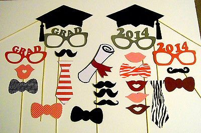 Photo Booth Props 24pc Graduation Photobooth Props Graduation Party Decorations