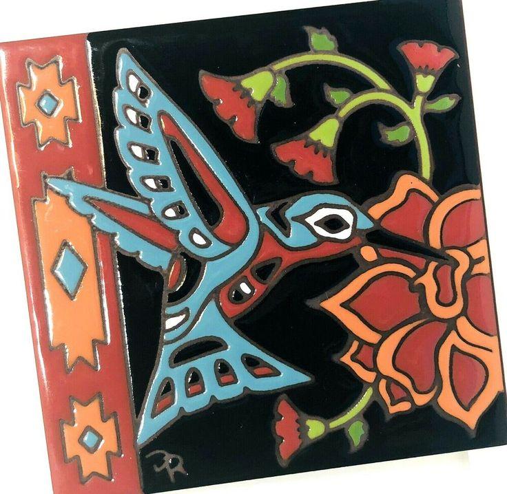 Earthtones decorative 6x6 tile art southwest hummingbird