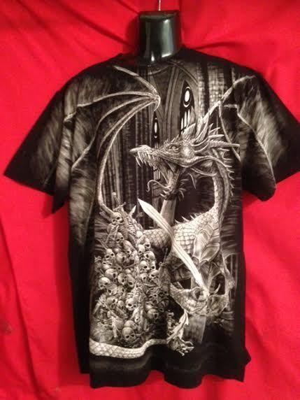 Dragon &   skulls  Graphic black t-shirt-short sleeve Rock Eagle