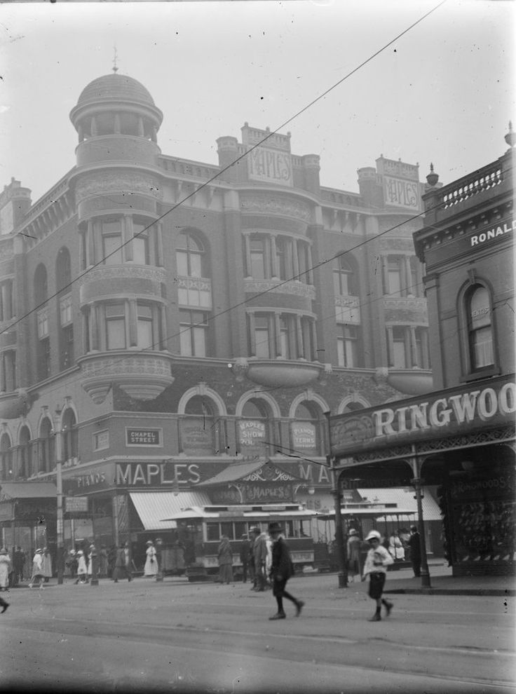 Northwest corner of Chapel and High Streets, Prahran, 1910. Photograph from…