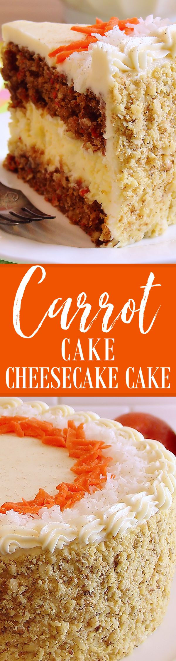 Carrot Cake Cheesecake Cake Bakery-Style ~ Perfectly moist and flavorful carrot cake layered with the creamiest cheesecake and frosted with Best Ever Cream Cheese Buttercream. Perfect for Easter! Recipe is complete with step-by-step photos and instructions. Everyone will LOVE this fabulous cake!