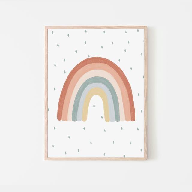 Colourful Rainbow Print Rainbow Nursery Decor Scandi Kids Room