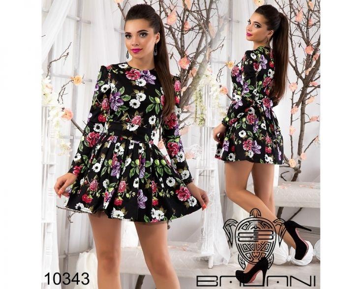 Очаровательное платье с пышной фатиновой юбкой  черный /принт розово-сиреневые розы