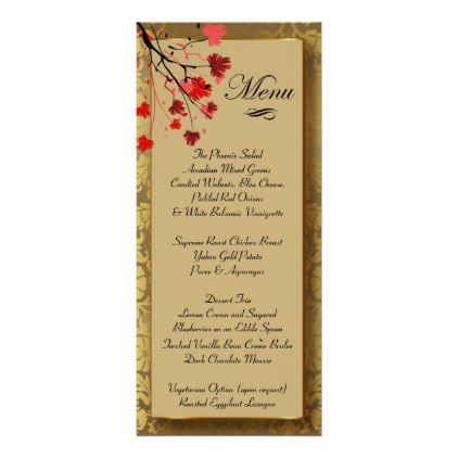 Beautiful Vintage Gold Damask & Art Deco Rack Card - red gifts color style cyo diy personalize unique