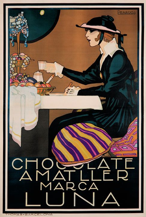 Chocolate, Luna  A vintage Italian art advertising poster. This was an ad for a chocolate coffee type beverage in Italy, ' Chocolate Amatller' . It features a woman sitting at a cafe table and says that the drink ' marks the moom'.*