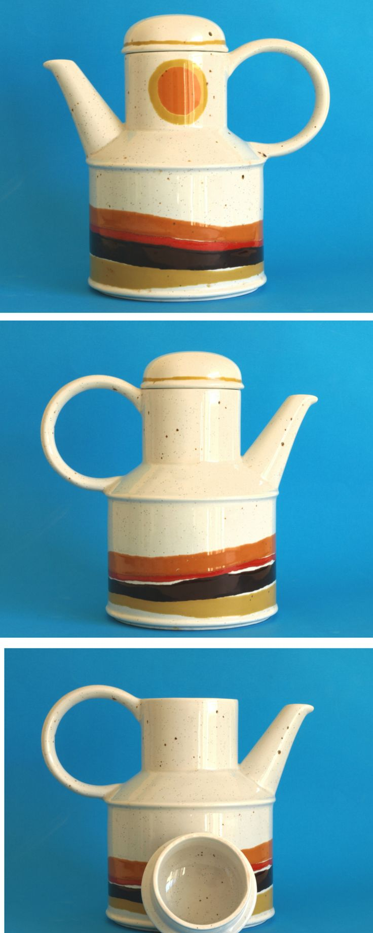 Midwinter Stonehenge Day Coffee Pot - Retro 70s Orange Wedgewood Coffee Pot by Roy Midwinter - Made in England