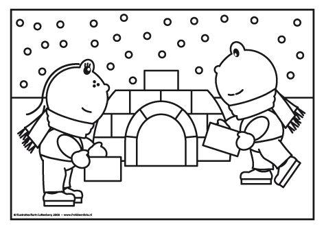 Frokkie en Lola bouwen een iglo De iglo is bijna af. Alleen het dak moet er nog op. Frokkie en Lola maken er een paar ijsblokken bij en dan is de iglo klaar.