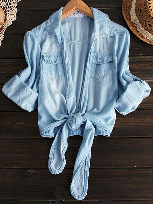 Tied Shirt Neck Denim Shirt - LIGHT BLUE L