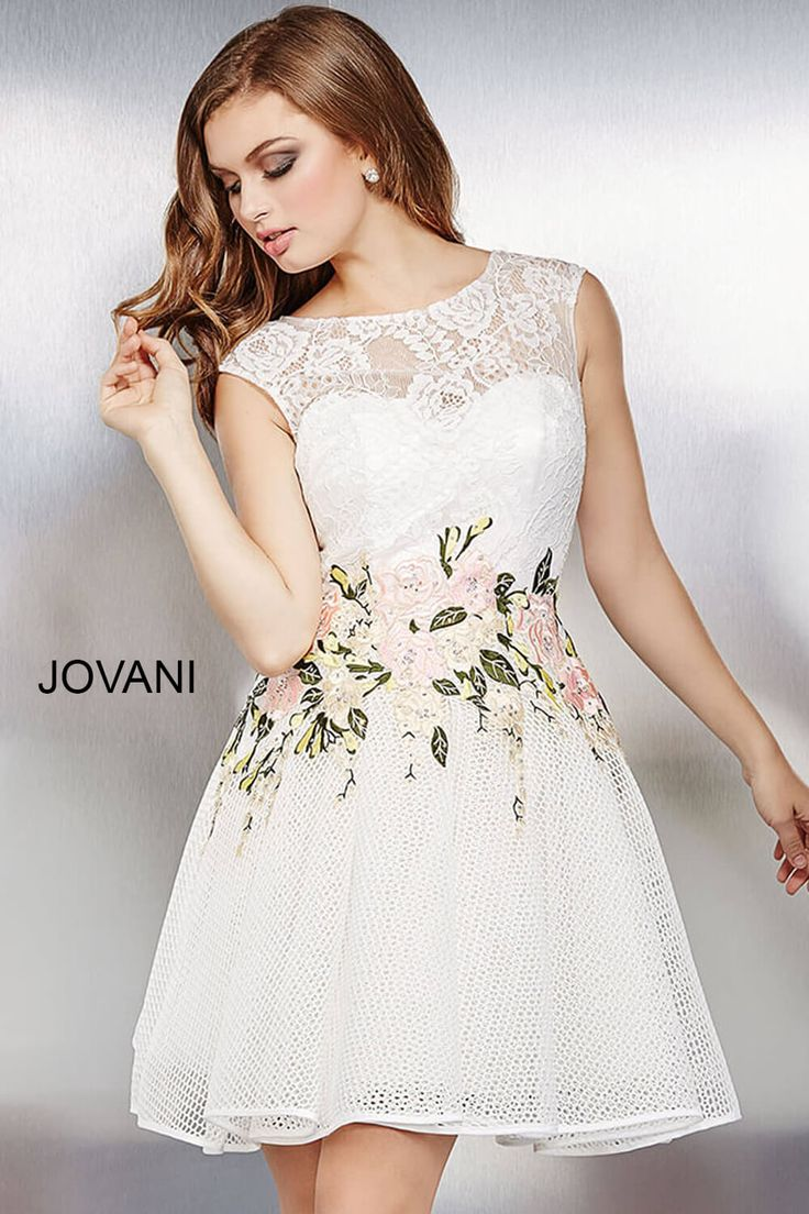 Look like a princess in this #jovani 33596 floral lace dress.