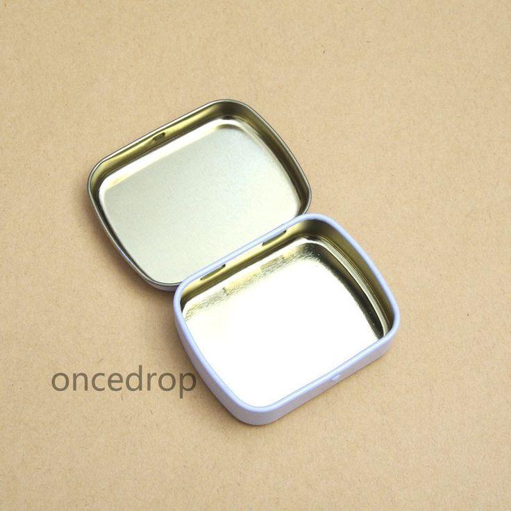 10 Small Tin Box Blank White Tin Case DIY Mini Metal Storage Boxes