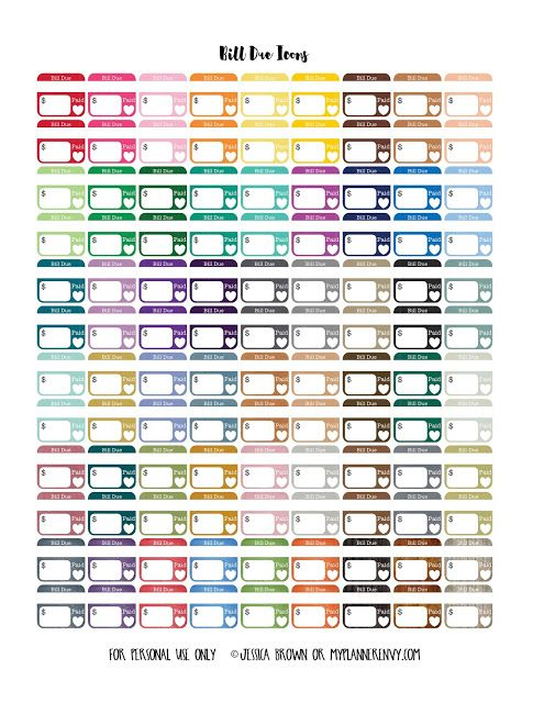 Bill Due Icons - Free Planner Printable (My Planner Envy)