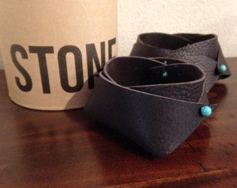Little leather bowls - handmade chocolate leather and turquoise stone - Edit Listing - Etsy