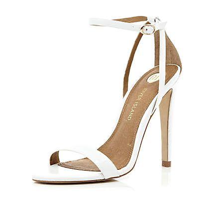 White barely there stiletto sandals - River Island