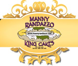 """Manny Randazzo's Cream Cheese King Cake.  Homemade cream cheese is injected between each cinnamon braid and filled until it oozes out on top and sides and baked to perfection and finished off with our famous white, creamy """"Randazzo"""" icing."""