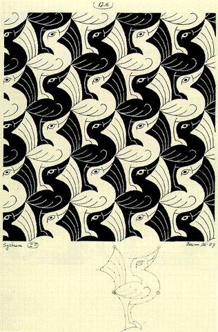 Birds, a tessellation by MC Escher, 1967                                                                                                                                                                                 More