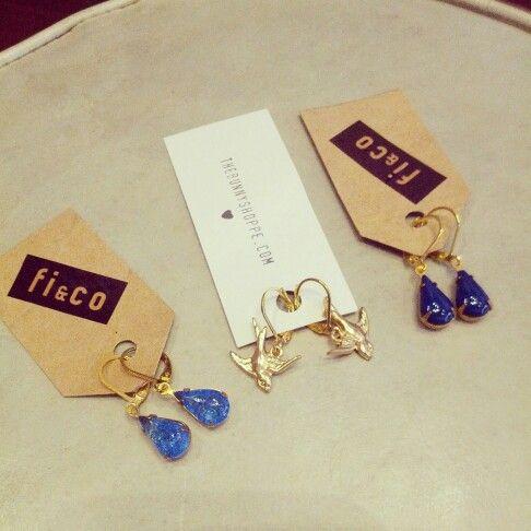 @thebunnyshoppe #thebunny left #crackle #blue #shimmer #teardrop #earrings $24 centre #golden #swallows #earrings $18 right #lapislazuli #coloured #teardrop #earrings $24 #tears #drops #birds #pretty #prettybirds #delicate #feminine #fortheears #accessories #classylady #lady #damngirl