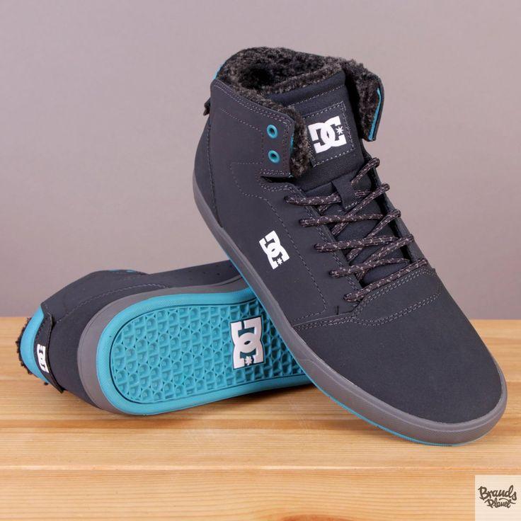 Granatowe męskie buty zimowe ocieplane za kostkę DC Crisis High WNT Dark Blue / www.brandsplanet.pl / #dc shoes