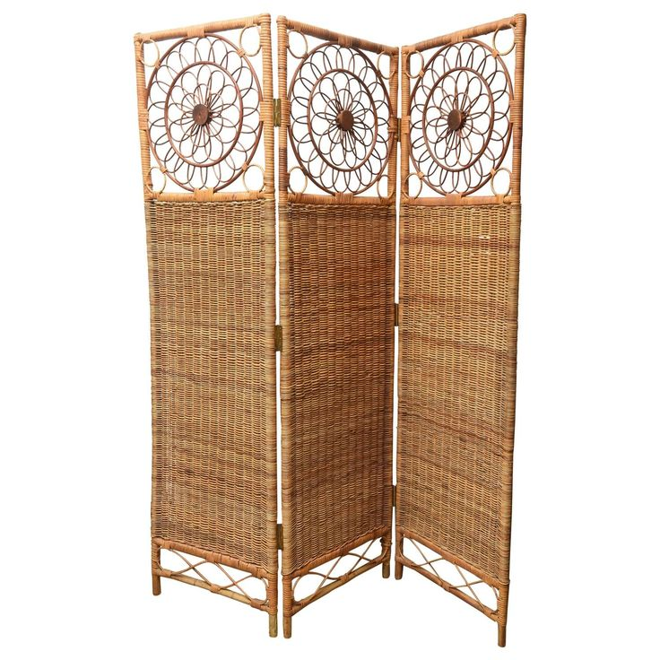 vintage threepanel rush bamboo screen 1